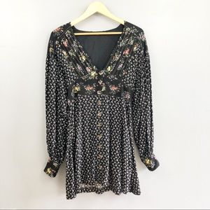 Free People V Neck Floral Button Down Dress